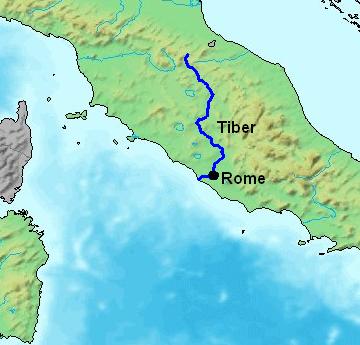 図:テヴェレ川の流域